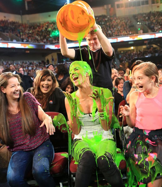 Actress Halle Berry being slimed