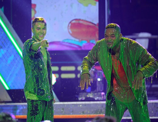 Justin Beiber and Will Smith all slimed