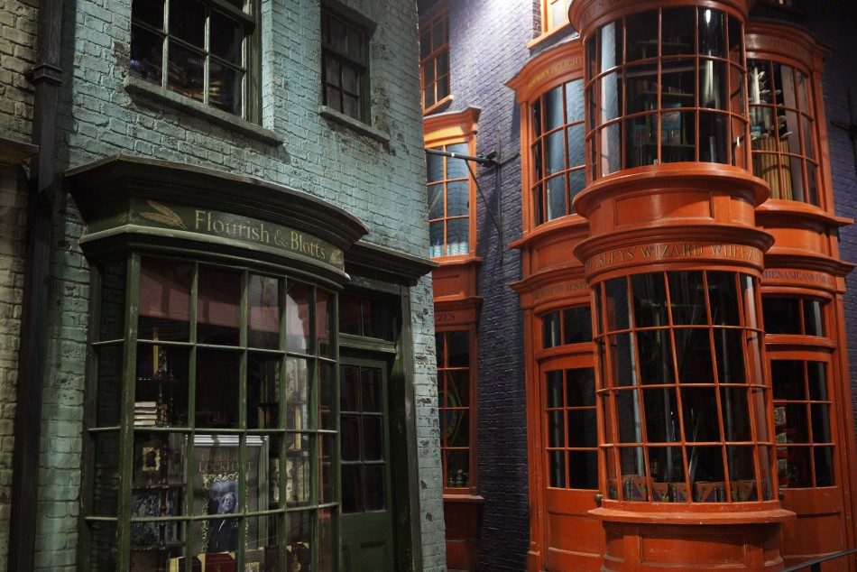 Storefronts are seen in quotDiagon Alleyquot during a media viewing tour of the set of the Harry Potter films at the Warner Bros. Studio Tour in Leavesden