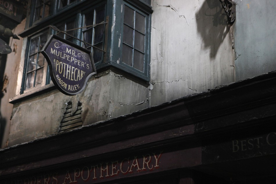 "A sign above a storefront is seen in ""Diagon Alley"" during a media viewing tour of the set of the Harry Potter films at the Warner Bros. Studio Tour in Leavesden"