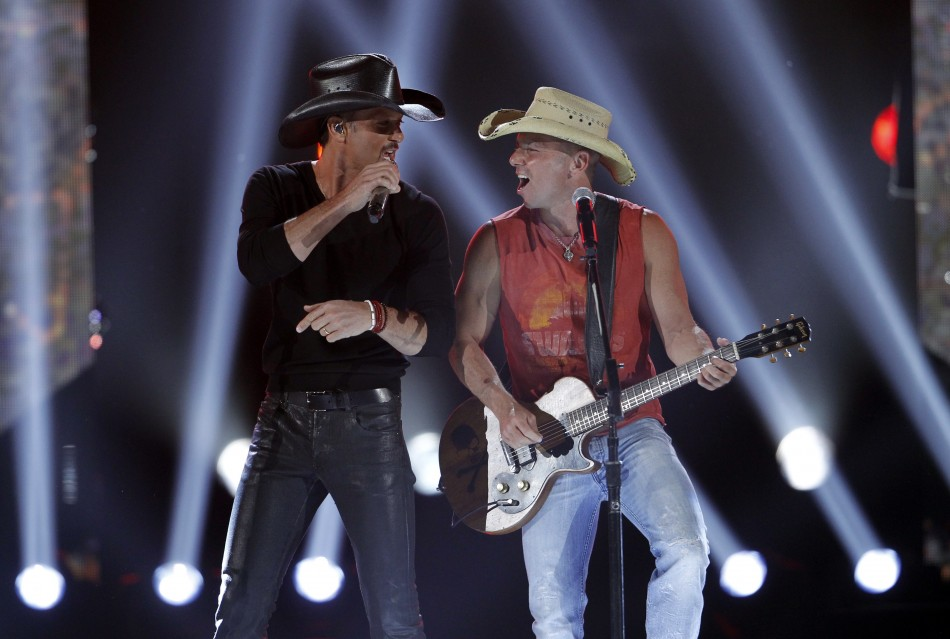"Tim McGraw and Kenny Chesney perform ""Feel Like a Rock Star"" at the 47th annual Academy of Country Music Awards in Las Vegas"