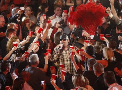 Toby Keith performs quotRed Solo Cupquot amid the audience at the 47th annual Academy of Country Music Awards in Las Vegas
