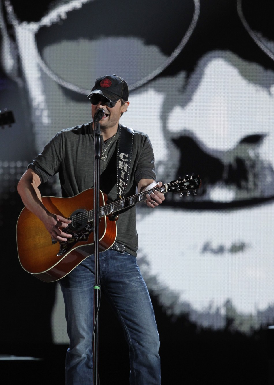 "Singer Eric Church smiles performs ""Springsteen"" at the 47th annual Academy of Country Music Awards in Las Vegas"