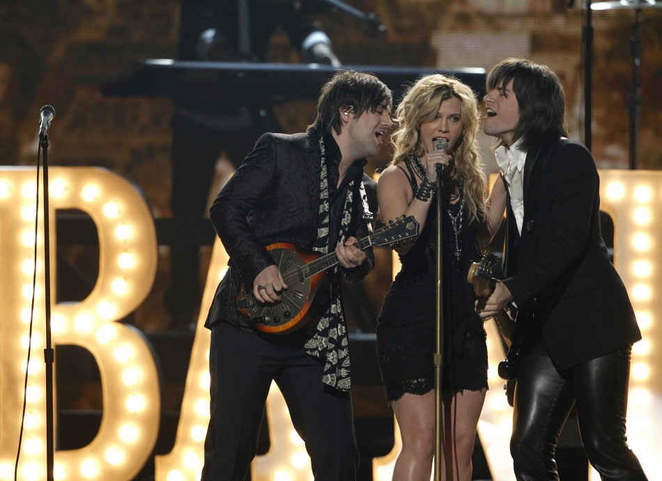 "Kimberly Perry and The Band Perry perform ""Postcard From Paris"" at the 47th annual Academy of Country Music Awards in Las Vegas"