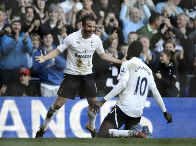 Tottenham Hotspur039s Rafael van der Vaart celebrates after scoring against Swansea City during their English Premier League soccer match in London