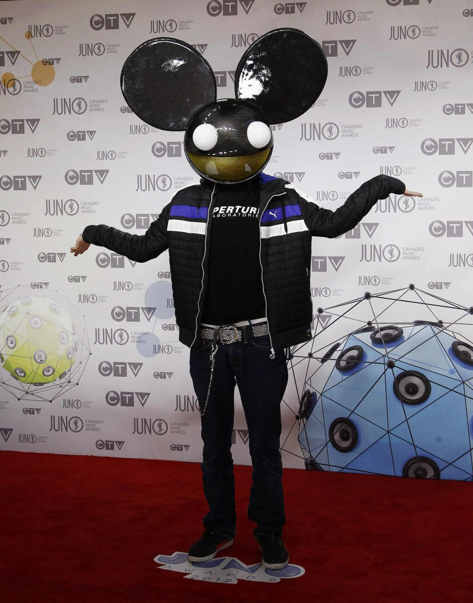 Recording artist 'deadmau5' arrives on the red carpet during the 41st Juno Awards in Ottawa