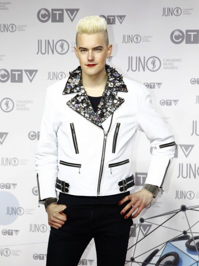 Recording artist Diamond Rings arrives on the red carpet during the 41st Juno Awards in Ottawa