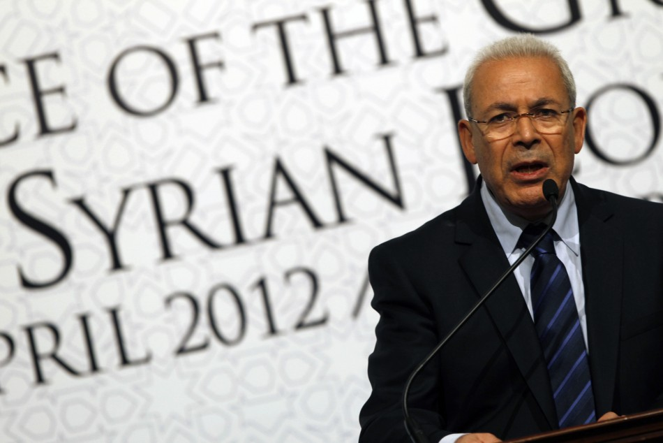 Syrian National Council chairman Burhan Ghalioun addresses Friends of Syria conference in Istanbul