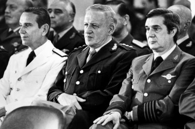 Admiral Jorge Anaya, president General Leopoldo Galtieri and Air Force Commander Basilio Lami Dozo