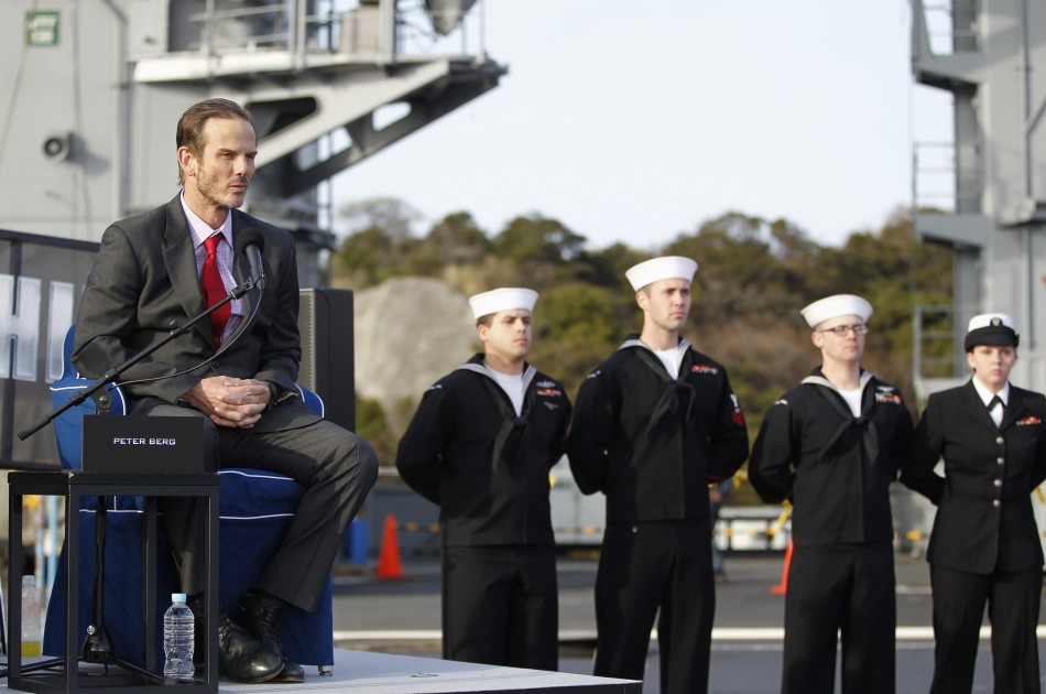 U.S. director Berg speaks during news conference to promote quotBattleshipquot Yokosuka port, south of Tokyo