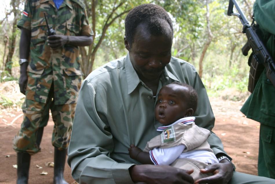 LRA leader Joseph Kony poses with son
