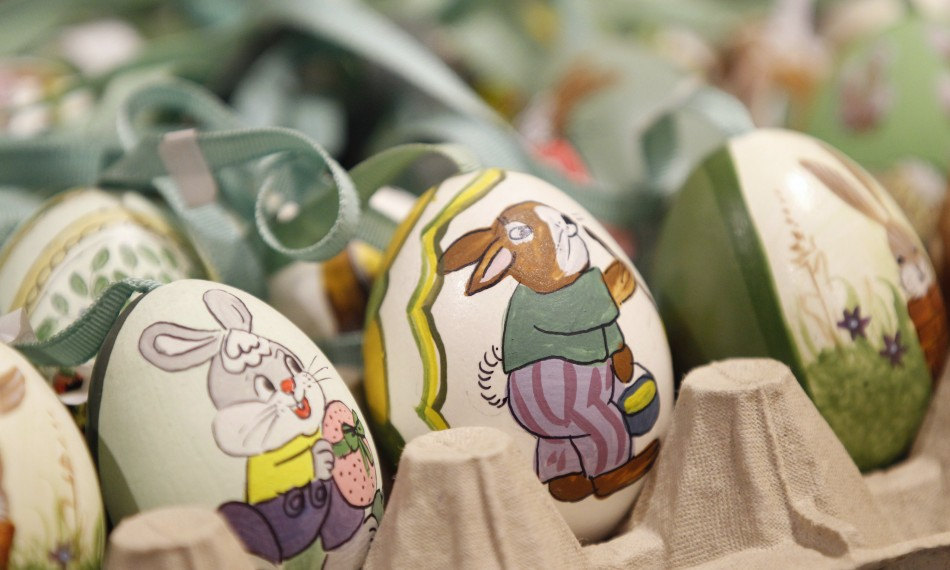 Easter eggs are seen at an Easter market, in the western Austrian city of Innsbruck