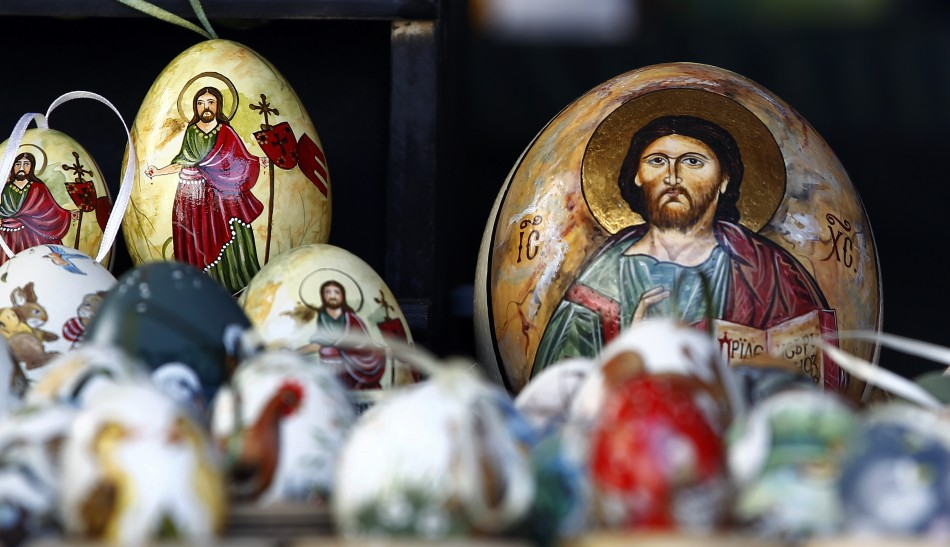 Colourful painted Easter eggs are displayed at a local Easter market in Bad Toelz