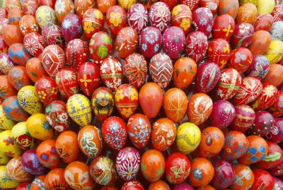 A sphere sculpture made from Easter eggs is on display on the day of its unveiling at Kievo-Pecherskaya Lavra cathedral in Kiev