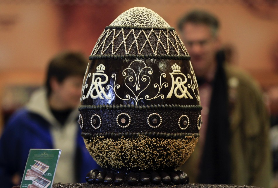 "A chocolate made mock-up of a Faberge easter egg is pictured at a shop of ""Fassbender & Rausch"" chocolate maker at Berlin's Gendarmenmarkt square"