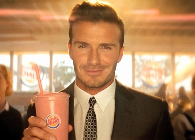 David Beckham sizzles in TV advert for Burger King's strawberry banana smoothie