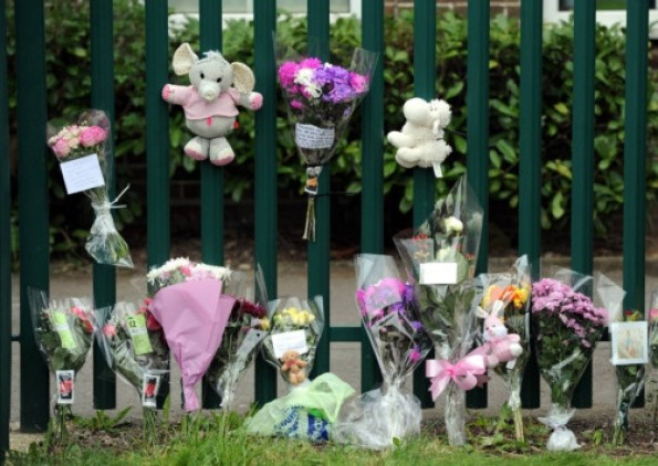 Flowers left at school gates after six-year-old pupil Chantelle Firth chokes to death