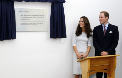 Britains Prince William and his wife Catherine, Duchess of Cambridge open the new Oak Centre for Children and Young People at the Royal Marsden Hospital in Sutton, Southern England