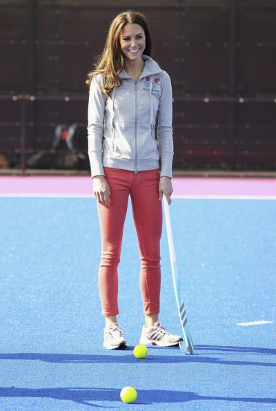 Britains Catherine, Duchess of Cambridge plays hockey with the GB hockey teams at the Riverside Arena in the Olympic Park in London