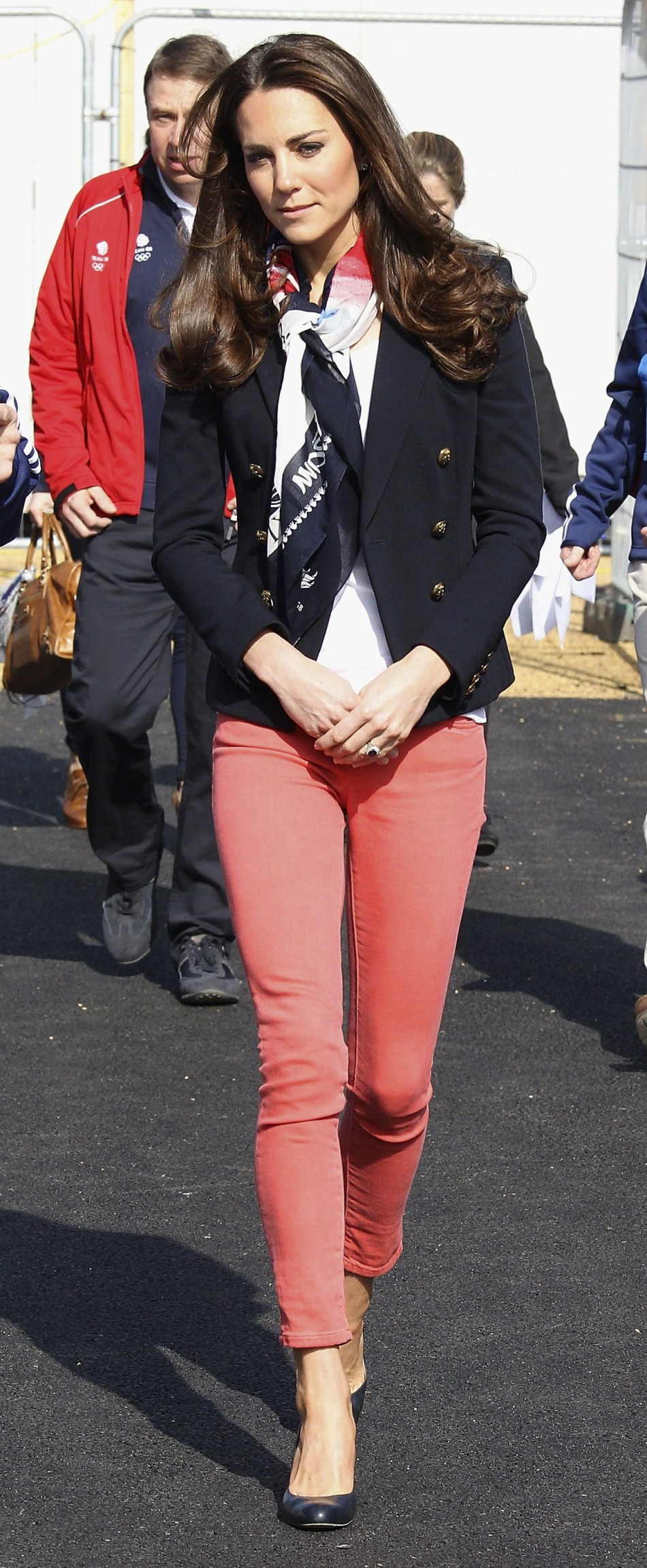 Britain's Catherine, Duchess of Cambridge wears the Team GB official supporter's scarf for London 2012, during her visit to the Olympic Park in London