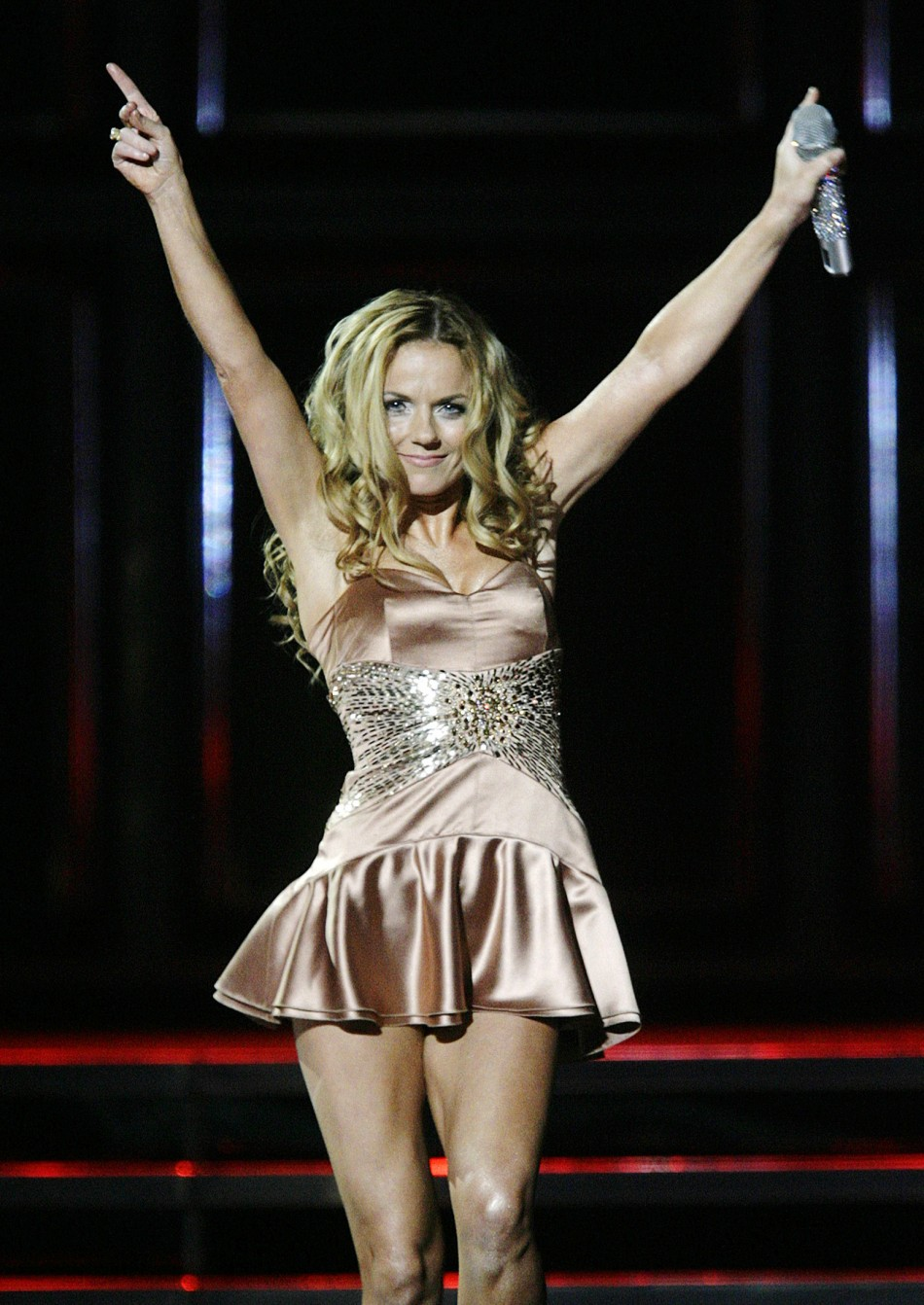 Spice Girl Geri Halliwell in action