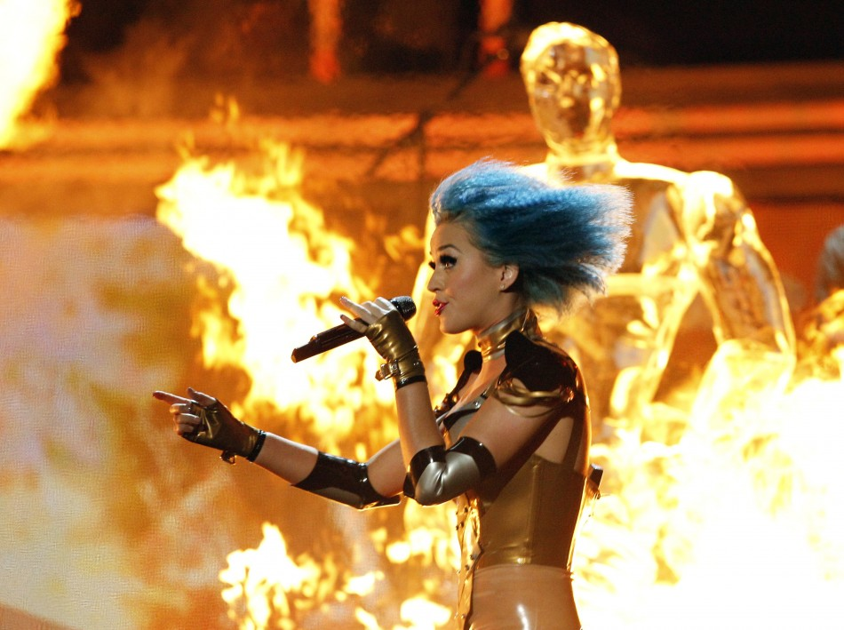 Singer Katy Perry performs at the 54th annual Grammy Awards in Los Angeles