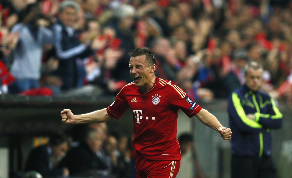 Ivica Olic of Bayern Munich celebrates his goal against Olympique Marseille during their Champions League soccer match in Munich
