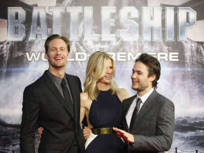 Cast members Skarsgard, Decker and Kitsch arrive for the world premiere for their film quotBattleshipquot in Tokyo