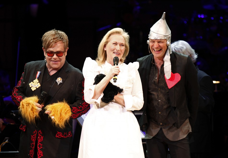 "Elton John and Sting perform with Meryl Streep during the benefit ""Songs From the Silverscreen"" to raise funds for The Rainforest Trust at Caregie Hall in New York"