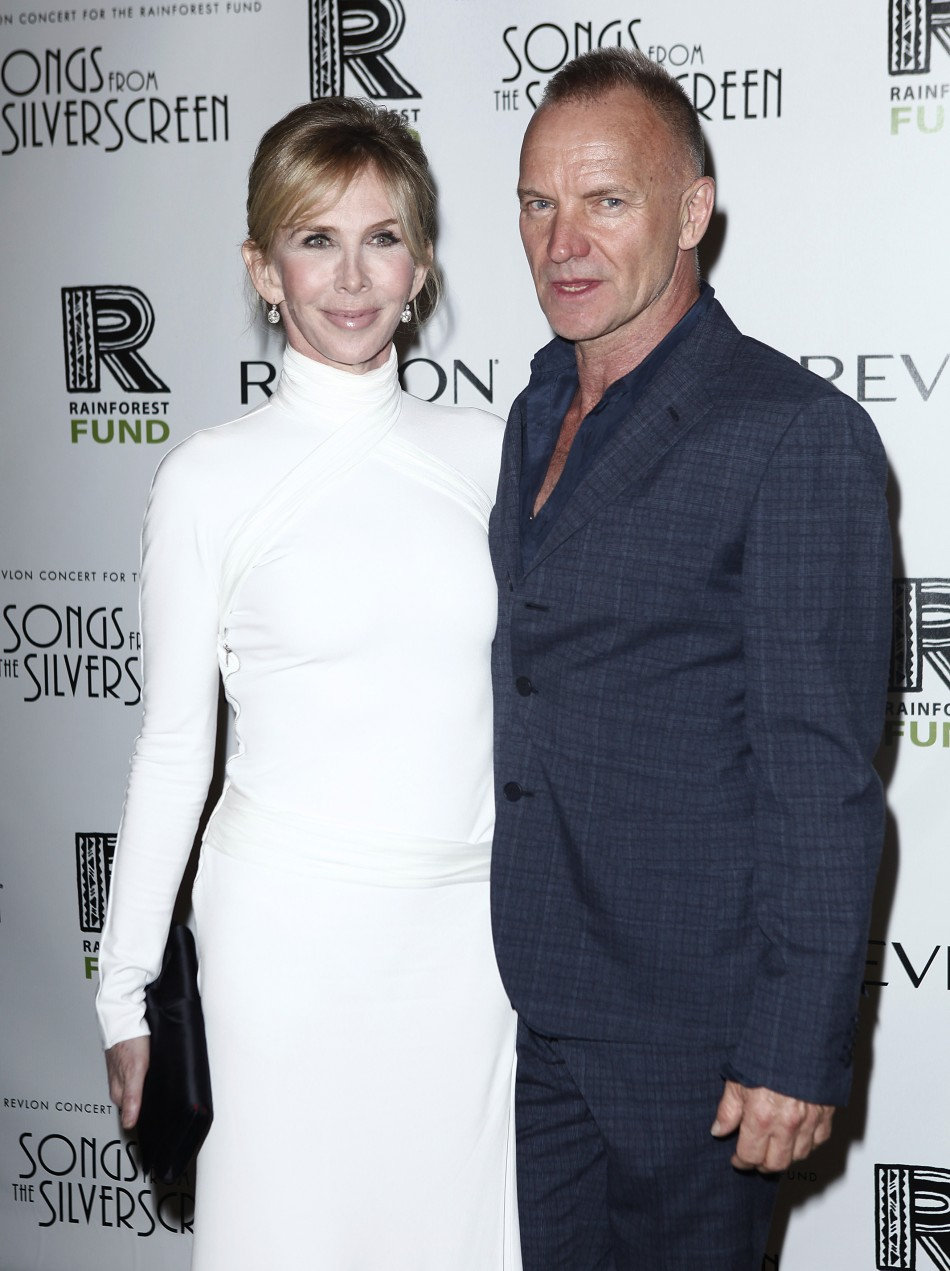 "Musician Sting and his wife Trudi Styler arrive for the benefit show ""Songs From the Silver Screen"" in New York"