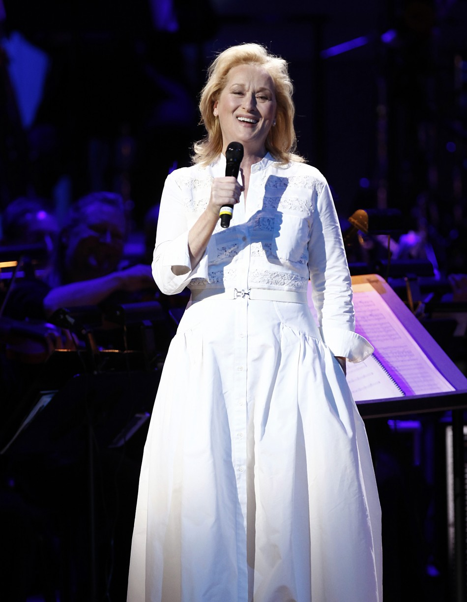 "Actress Meryl Streep performs during the benefit show ""Songs From the Silver Screen"" in New York"