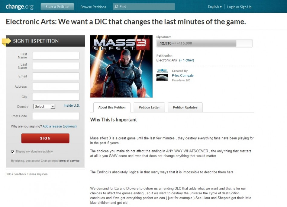 Mass Effect 3 Petition Filing System