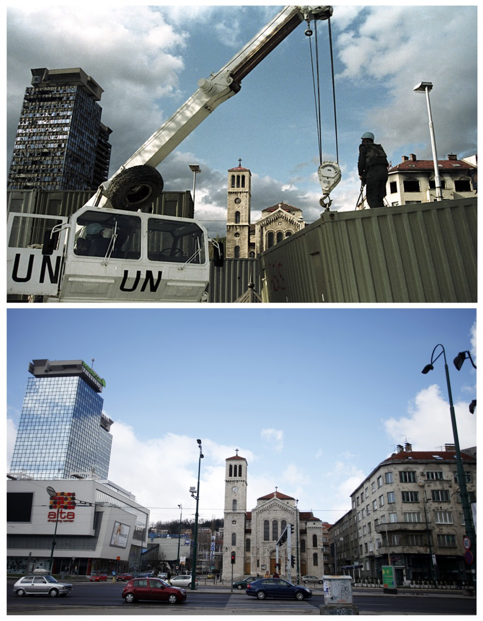 A United Nations peacekeeper stands at the construction site of a shelter in front of the damaged United Investment and Trading Company UNITIC Towers, and an Orthodox church in Sarajevo, in this picture taken in March 1993 top, and cars pass by the re