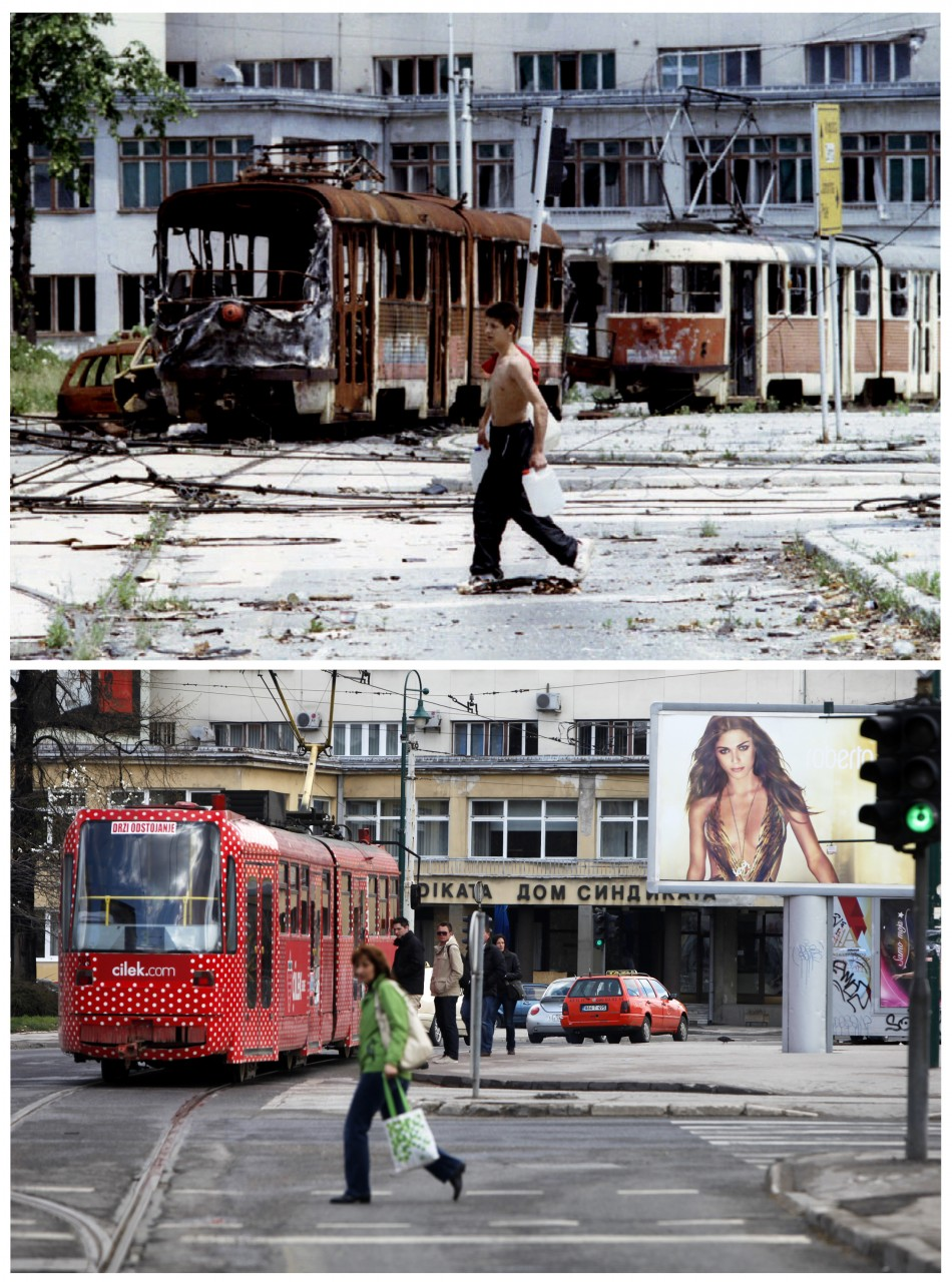 A Bosnian teenager carrying containers of water, walks in front of destroyed trams at Skenderia square in the besieged Bosnian capital of Sarajevo, in this file picture taken June 22, 1993 top, and a woman passes through the same square, in this combina
