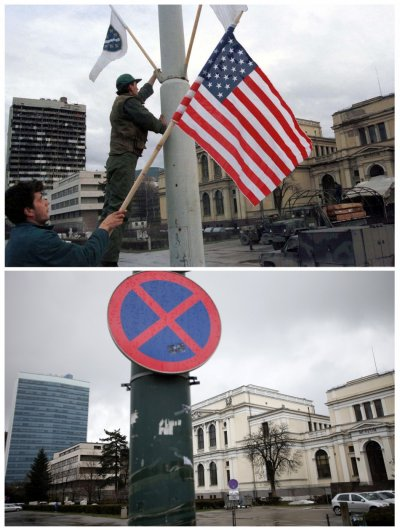Workers put up Bosnian and U.S. national flags ahead of a visit by U.S. President Bill Clinton in Sarajevo top, in this file picture taken December 21, 1997, and the parliament building and National Museum are seen in Sarajevo April 1, 2012, in this com