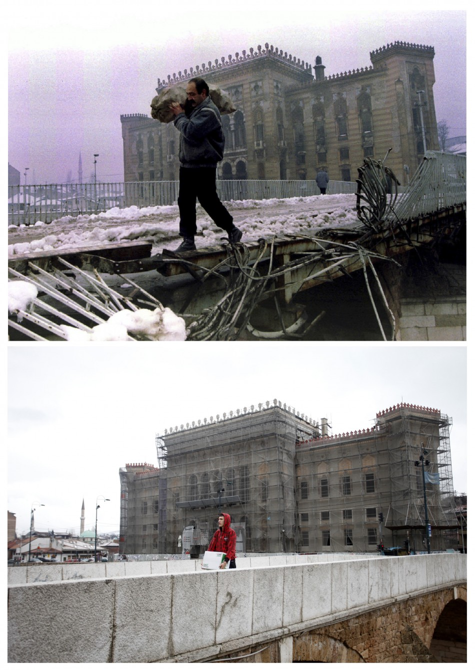 A man carries a bag of firewood across a destroyed bridge near the burnt library in Sarajevo, in this file picture taken January 1, 1994 and a man carries a box over the same bridge, now repaired, April 1, 2012, in this combination picture made April 4, 2