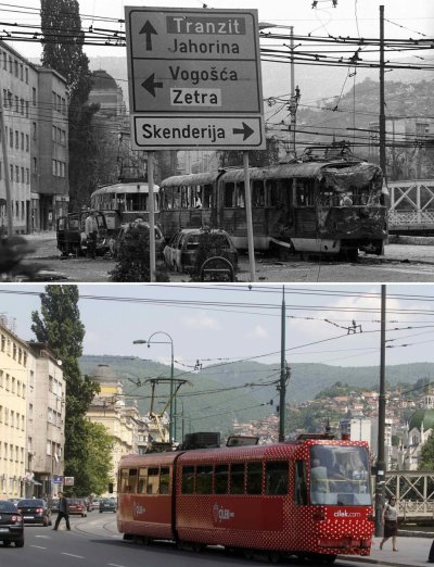 Combo photo of wreckage of tram following shelling in Skenderija district in Sarajevo and a tram travelling along the same street today