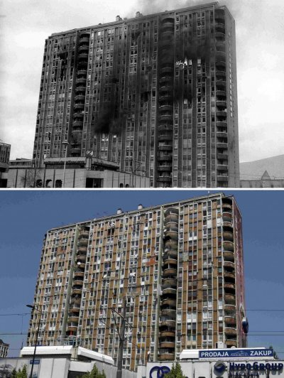 A combination photo shows upper a building burning after being shelled in the Pofalici district in Sarajevo April 1992, and lower the same building pictured May 30, 2011