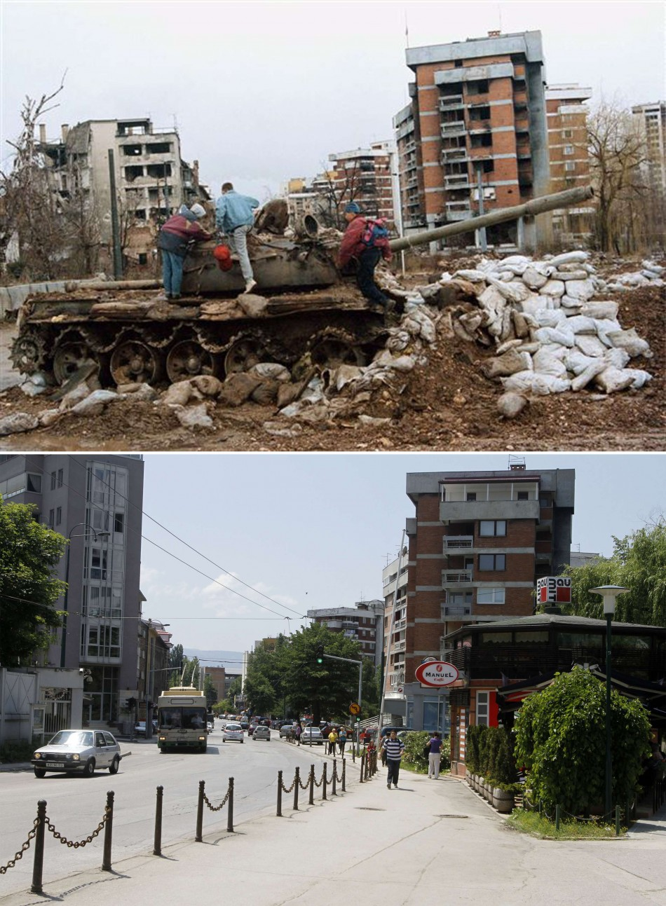 Combo photo shows disused tank standing at crossroad in front of ruined building in Kovacici district in Sarajevo people walking along same road today