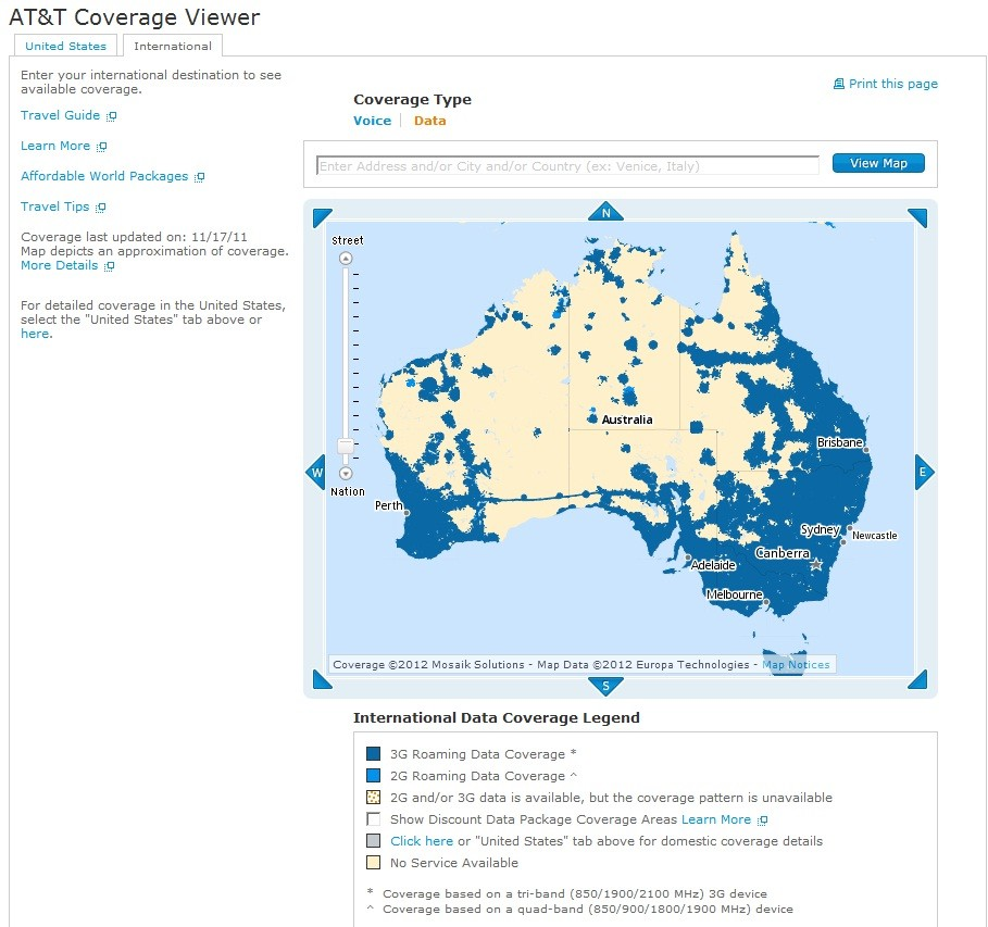 AT&T Data Coverage Zones in AUS