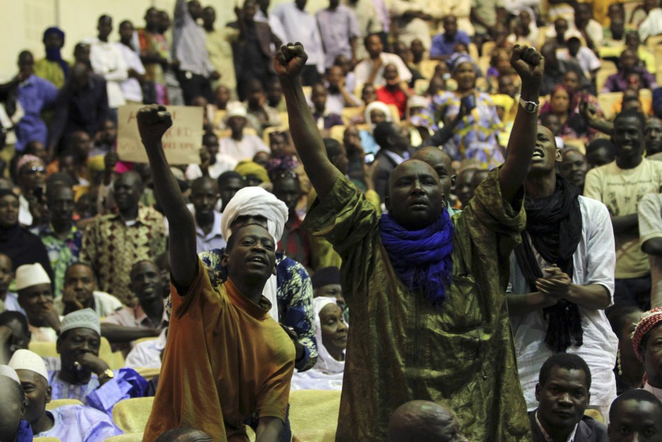 Malians, who originate from the north, pump their fists in the air during a meeting in Bamako