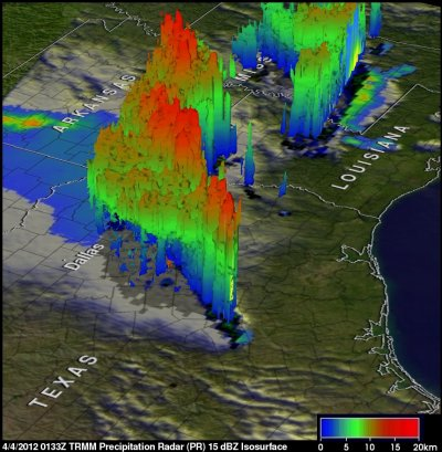 Nasa Satellite Captures Image Texas Tornadoes in 3-D