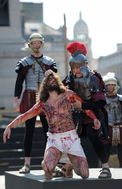 Biblical Jesus Christs Crucifixion Recreated at Londons Trafalgar Square
