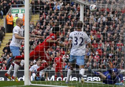 Liverpool039s Suarez scores against Aston Villa during their English Premier League soccer match in Liverpool