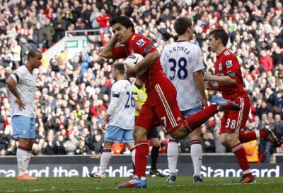 Liverpool039s Suarez celebrates his goal against Aston Villa during their English Premier League soccer match in Liverpool