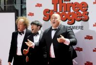 "Actors Sean Hayes who plays Larry, Chris Diamantopoulos who plays Moe, and Will Sasso who plays Curly, arrive in character during the Hollywood premiere of ""The Three Stooges: The Movie"" in Los Angeles"