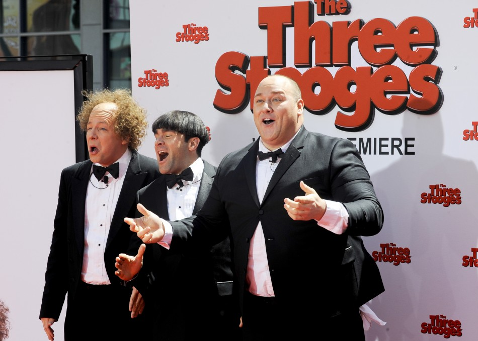 Actors Sean Hayes who plays Larry, Chris Diamantopoulos who plays Moe, and Will Sasso who plays Curly, arrive in character during the Hollywood premiere of quotThe Three Stooges The Moviequot in Los Angeles