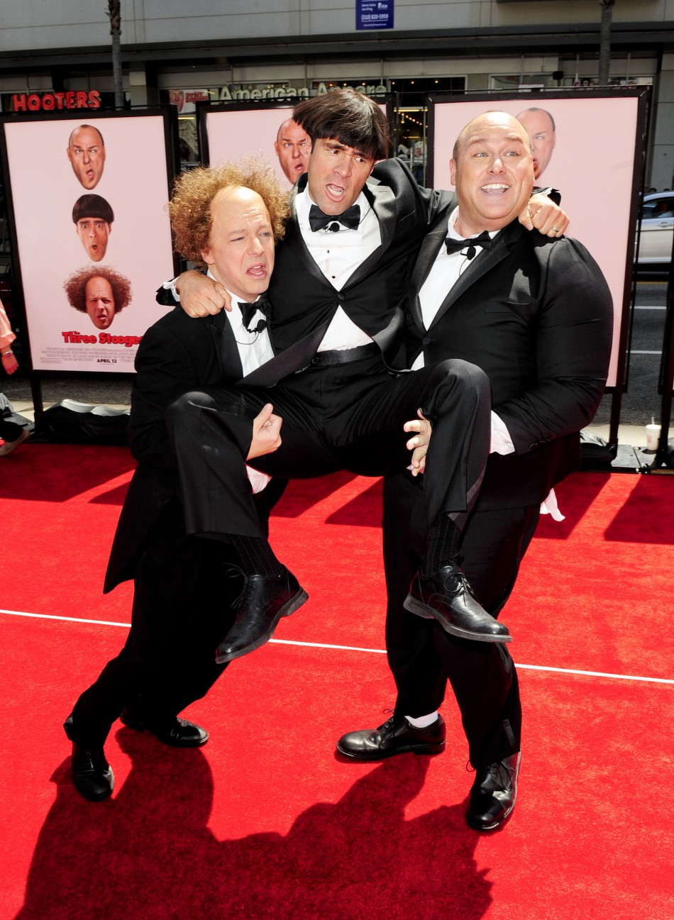 "Actors Sean Hayes who plays Larry, Chris Diamantopoulos who plays Moe, and Will Sasso who plays Curly, arrive in character as the Three Stooges at the Hollywood premiere of ""The Three Stooges: The Movie"" in Los Angeles"