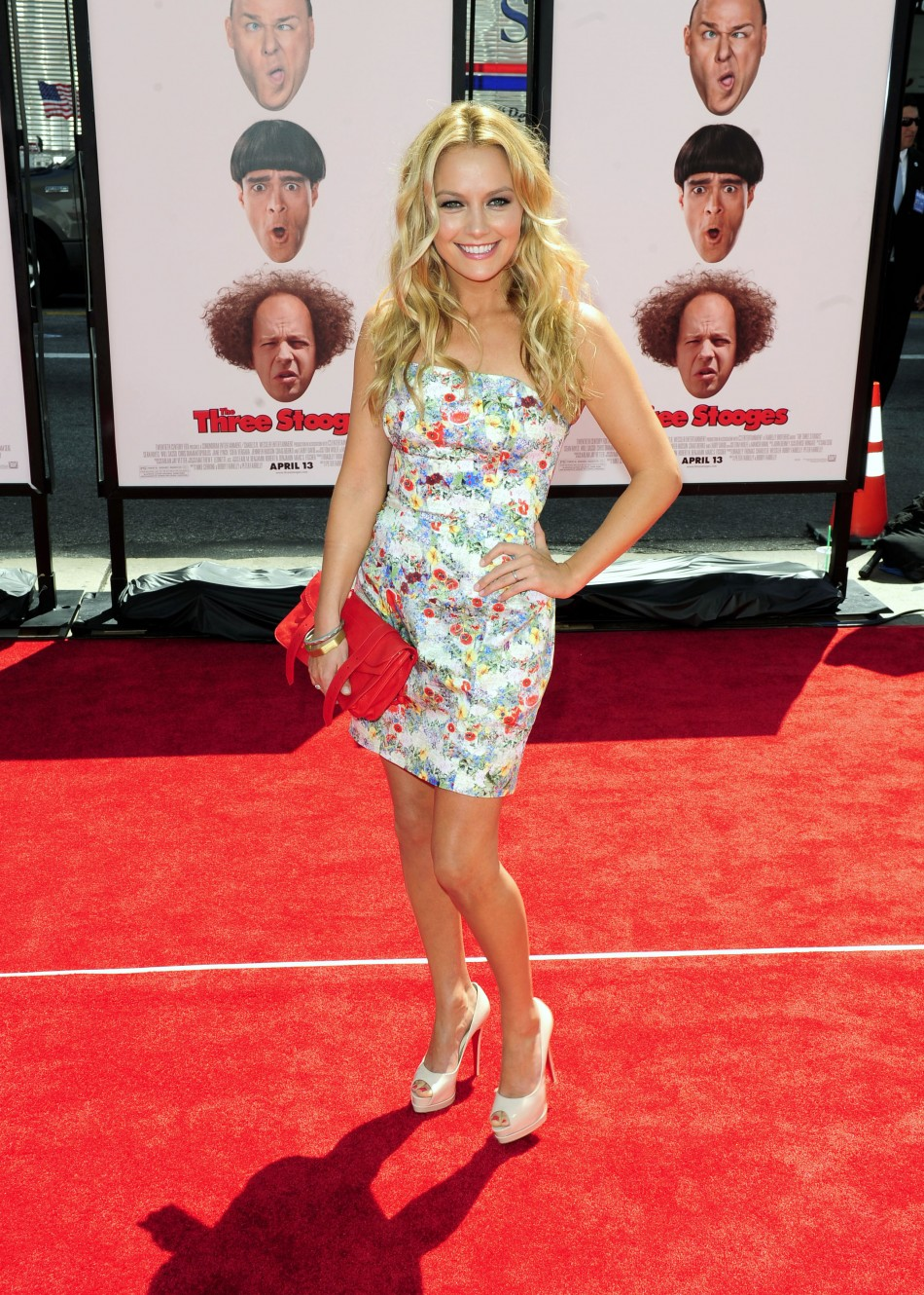 "Actress Becki Newton arrives at the Hollywood premiere of ""The Three Stooges: The Movie"" in Los Angeles, California"