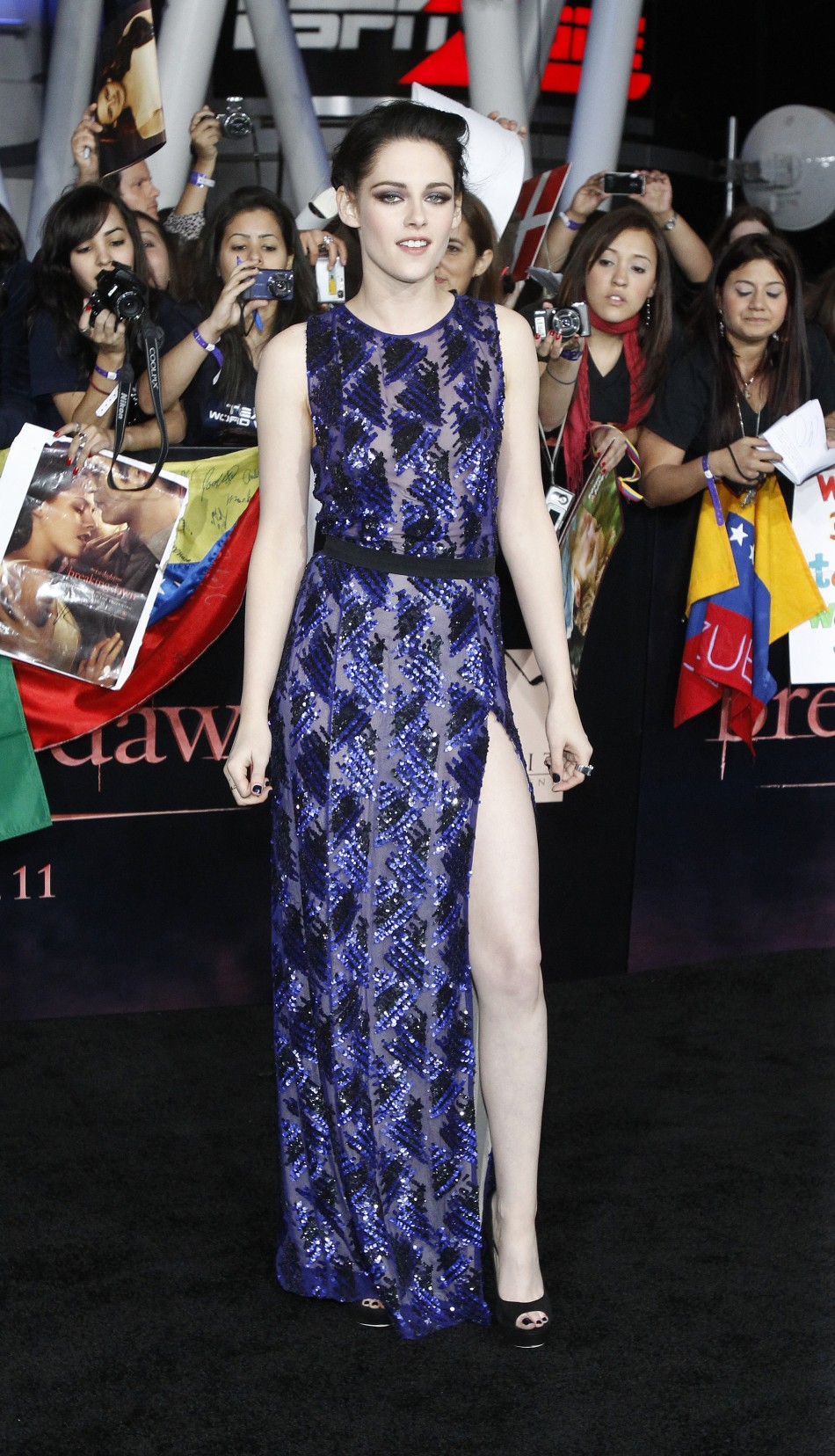 Stewart poses at the premiere of quotThe Twilight Saga Breaking Dawn - Part 1quot in Los Angeles